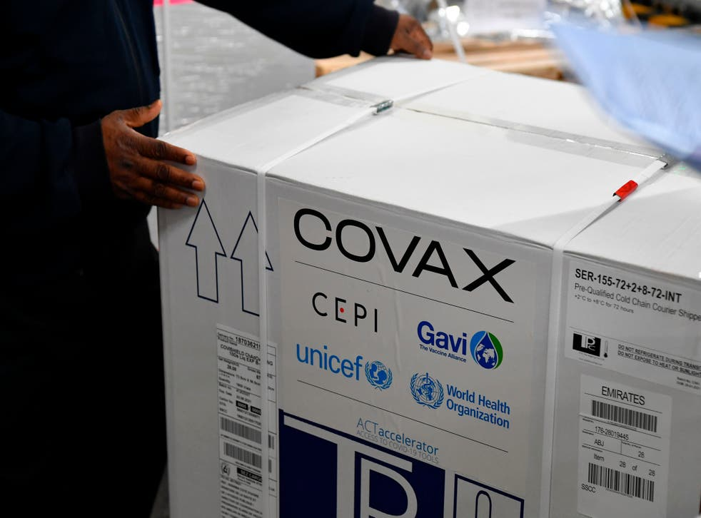 <p>A carton box of a Covishield vaccine developed by Pune based Serum Institute of India (SII) is unloaded at the Mumbai airport on 24 February 2021, as part of the Covax scheme, which aims to procure and distribute inoculations fairly among all nations</p>