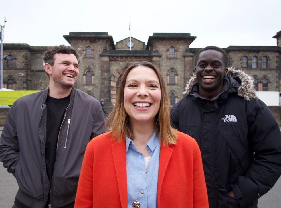 <p>'Banged Up' podcasters (from left) Rob Morrison, Claire Salama and Mike Boateng</p>