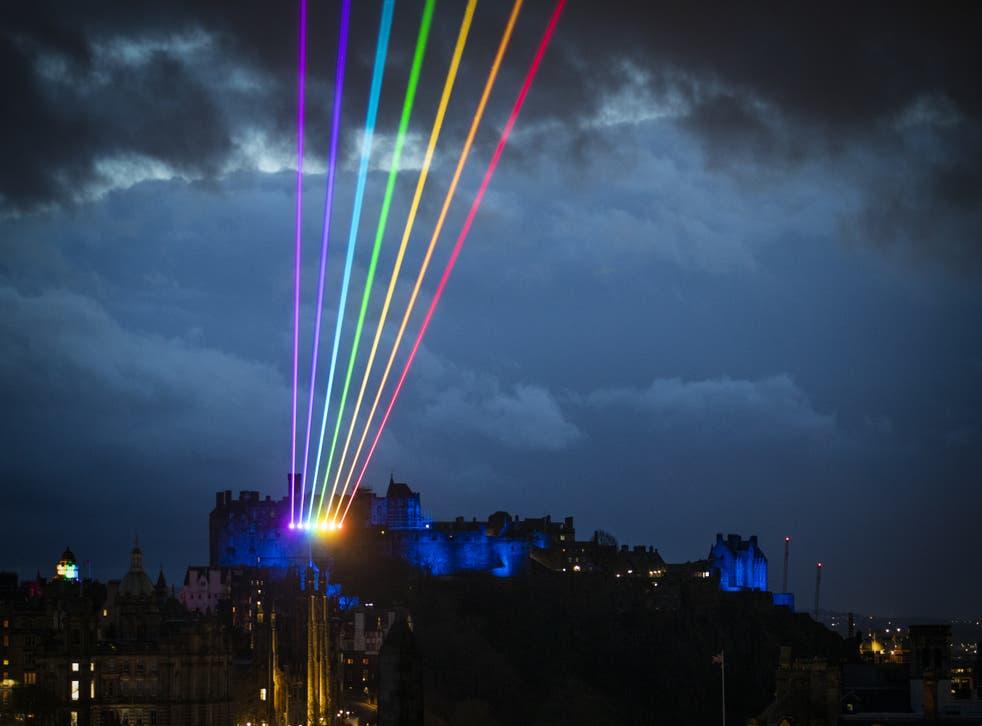 Laser art installation Global Rainbow lights up the Edinburgh skyline