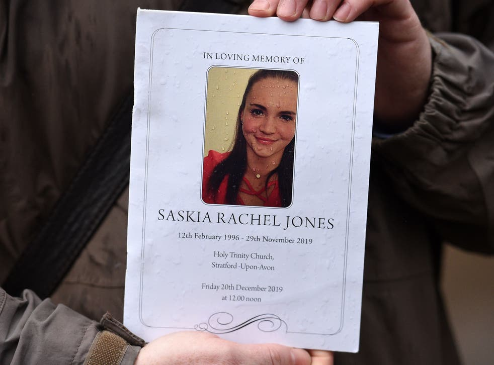 The order of service is pictured for the memorial service of Saskia Jones, a victim of the terror attack in Fishmongers' Hall,  on December 20, 2019