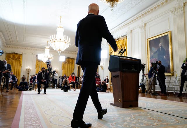 <p>President Joe Biden arrives to speak during a news conference in the East Room of the White House, Thursday, March 25, 2021, in Washington. </p>