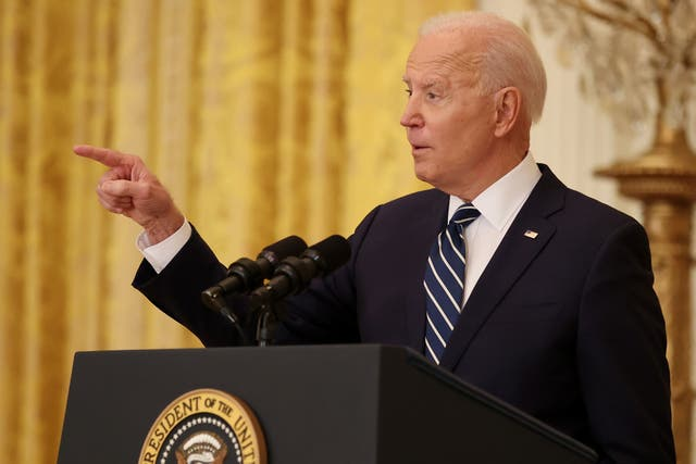 Joe Biden stared down Republicans on restrictive voting bills at his first presidential press conference on Thursday.