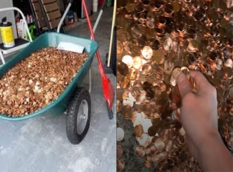 A wheelbarrow full of pennies