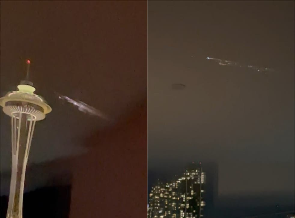 The SpaceX Falcon 9 second stage rocket burned as it re-entered the atmosphere over Seattle