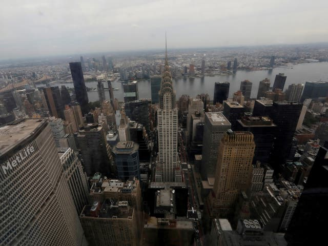 The Met Life Tower (L) and Chrysler Building in Manhattan's midtown east skyline are seen out the windows from the 54th floor of the 77-story One Vanderbilt office tower, in midtown Manhattan, New York City, New York, US