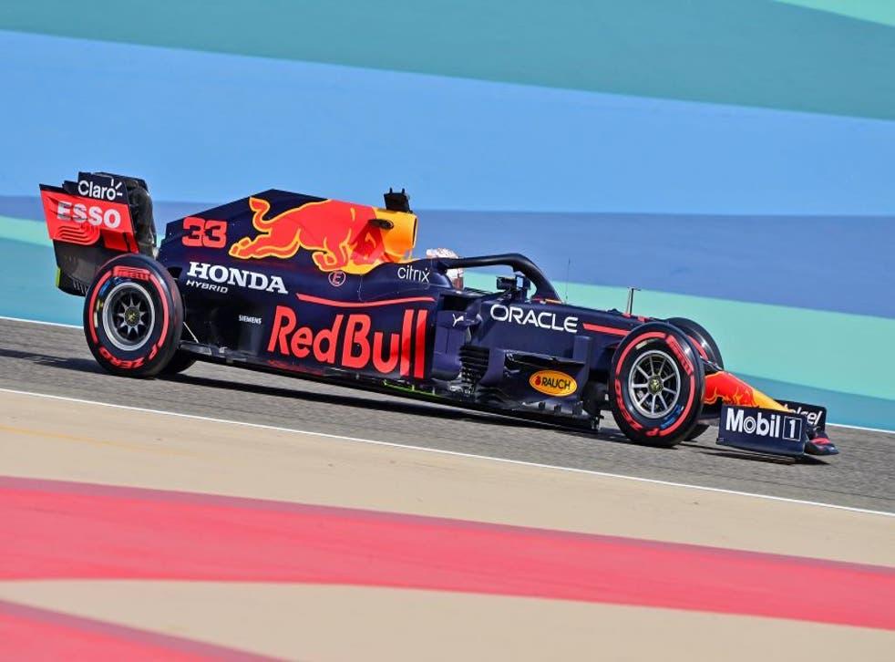 <p>Max Verstappen races in Bahrain</p>