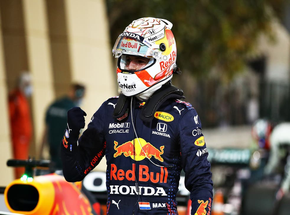 Max Verstappen celebrates after clinching pole