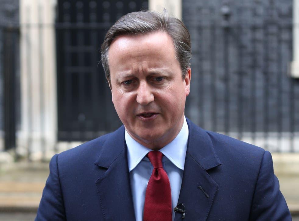 <p>David Cameron outside Downing Street</p>