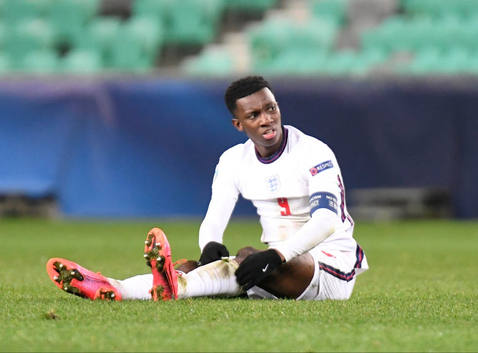 <p>Eddie Nketiah of England reacts after defeat to Portugal at 2021 UEFA European Under-21 Championship</p>