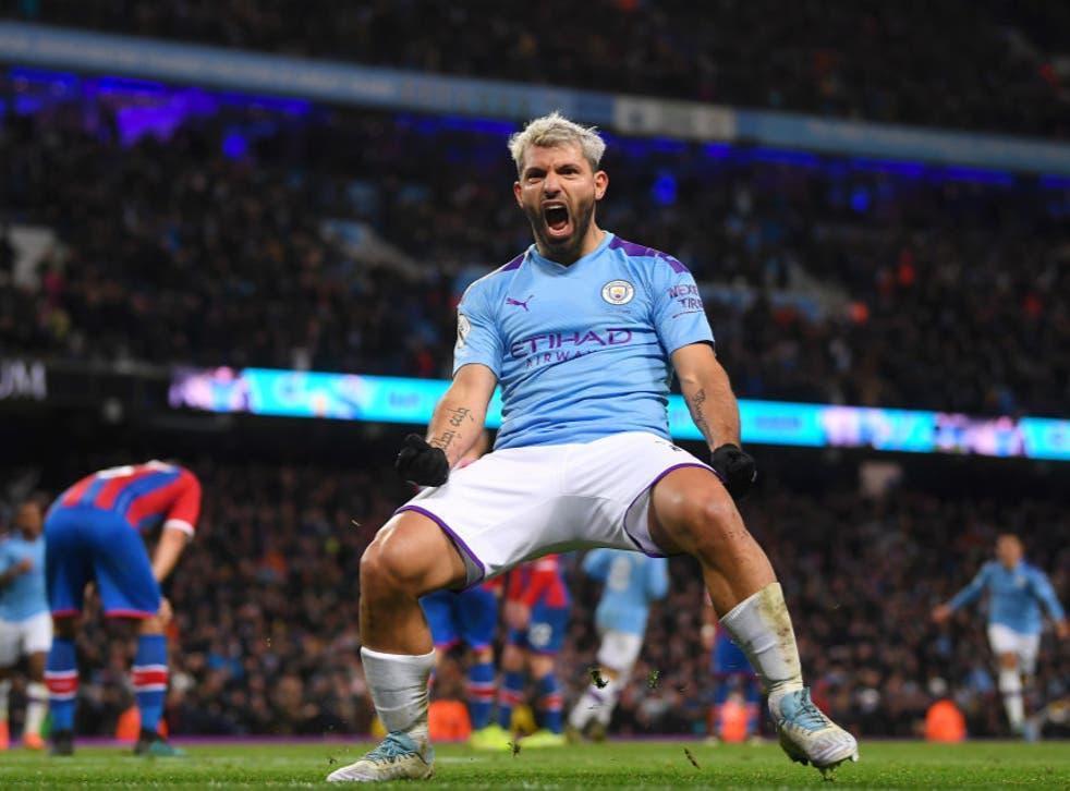 <p>Sergio Aguero celebrates scoring against Crystal Palace</p>