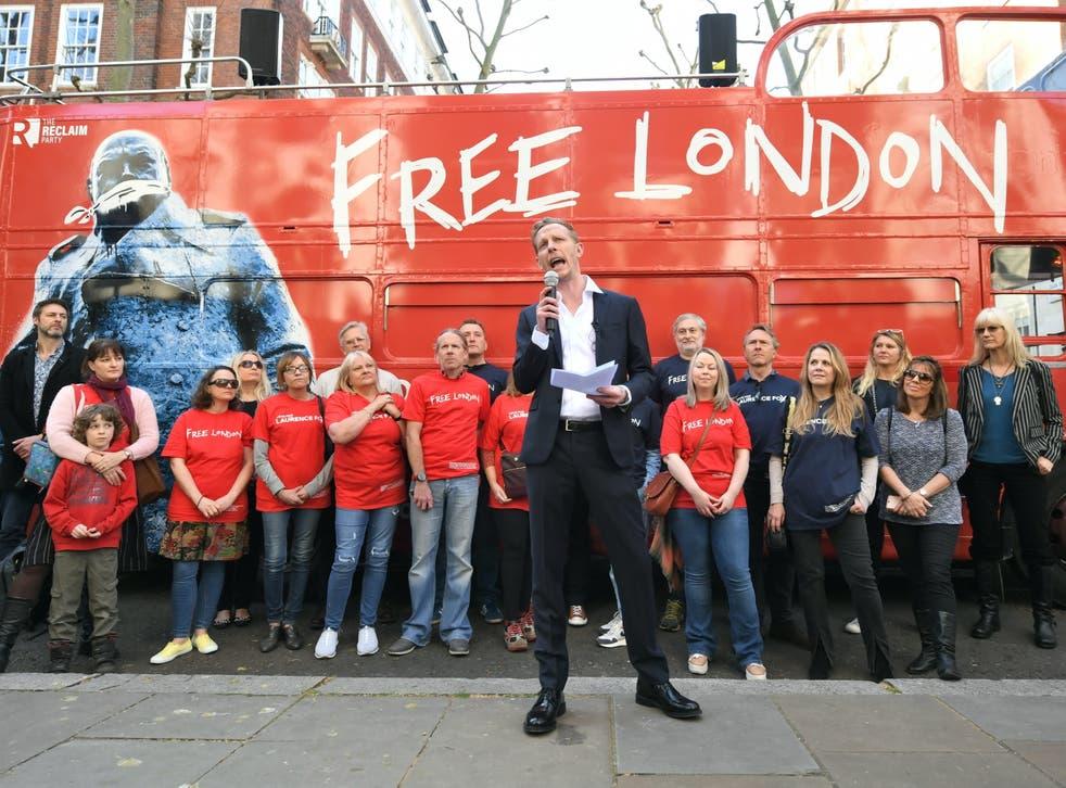 <p>Laurence Fox unveils his 'Free London' battle bus</p>