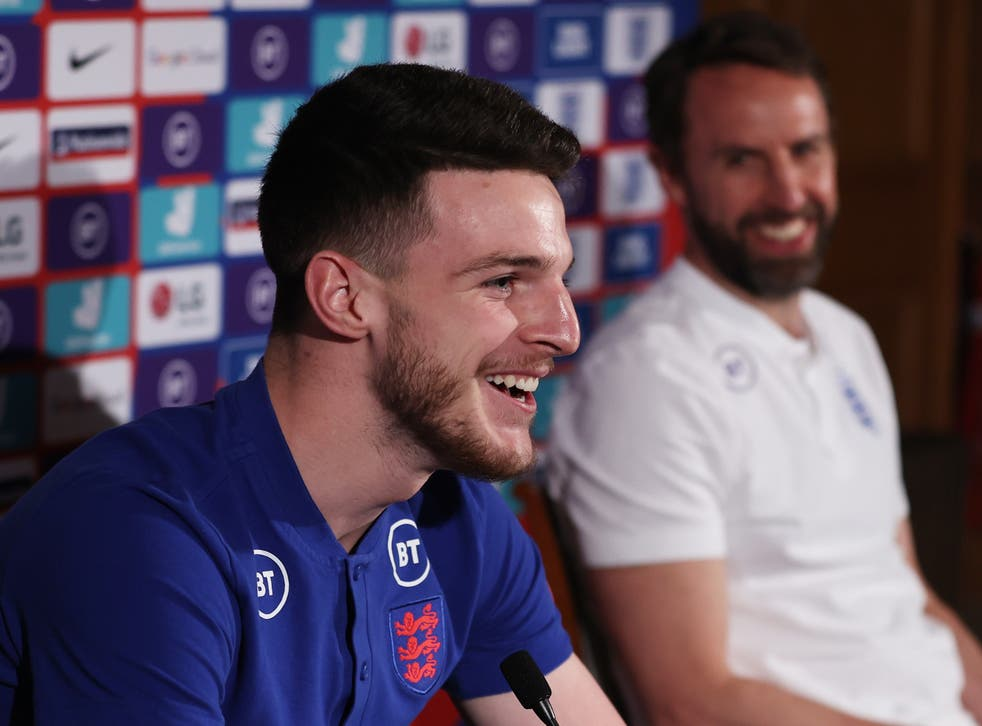 England and West Ham midfielder Declan Rice with national team coach Gareth Southgate