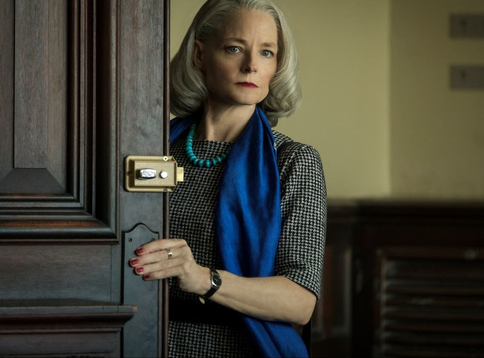 <p>Nancy Hollander (Jodie Foster) welcomes in memories of Clarice Starling, albeit with a grey bob and strong red lip</p>