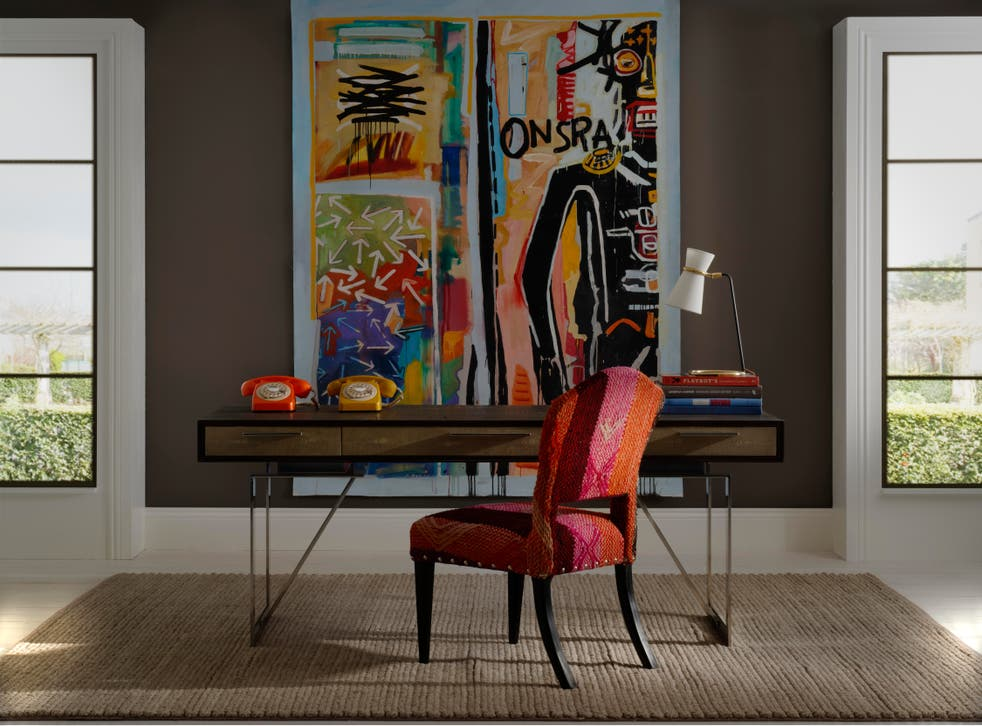<p>Wild Truffle Paint, from £51 for 2.5L, Latham Desk, £2,495, Clarkson Desk Lamp, £550, Bacall Jnr Chairs in Original Andean Textiles, £POR, Andrew Martin, www.andrewmartin.co.uk</p>