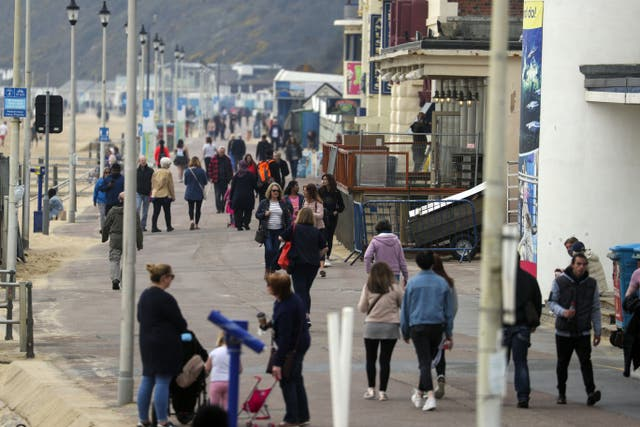 <p>First steps: The beachfront at Bournemouth, Dorset, this week as lockdown eases</p>