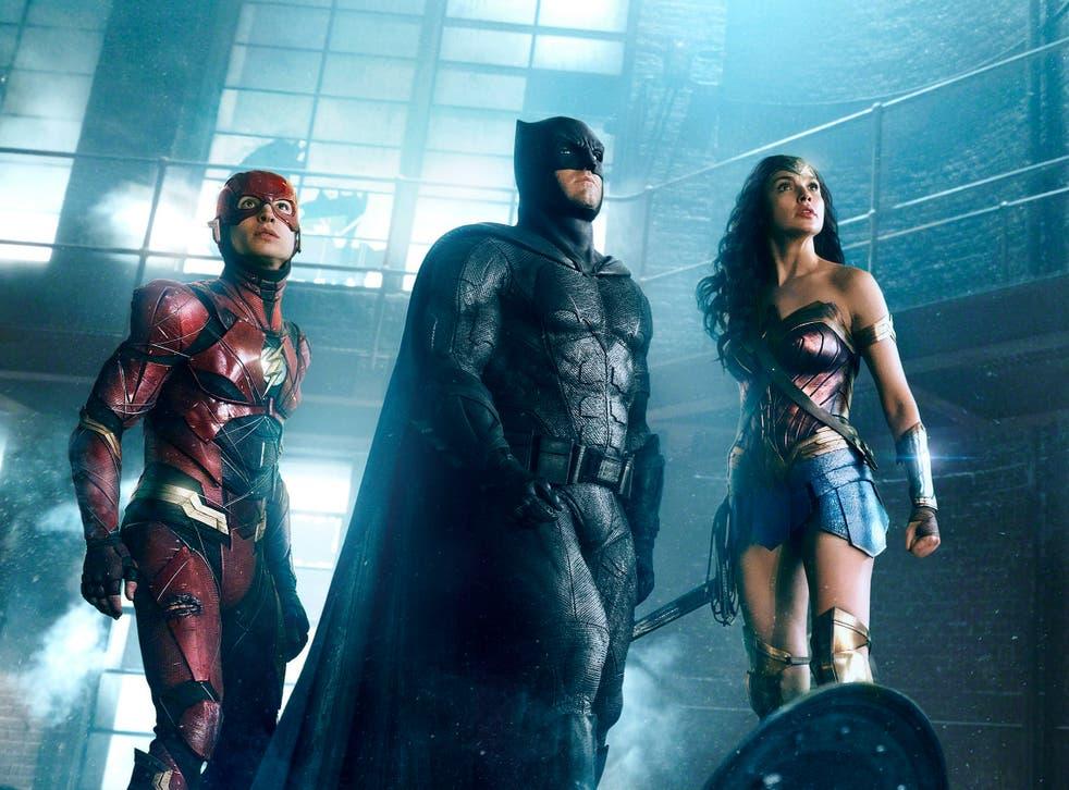 <p>The Flash (Ezra Miller), Batman (Ben Affleck) and Wonder Woman (Gal Gadot) in 'Zack Snyder's Justice League'</p>