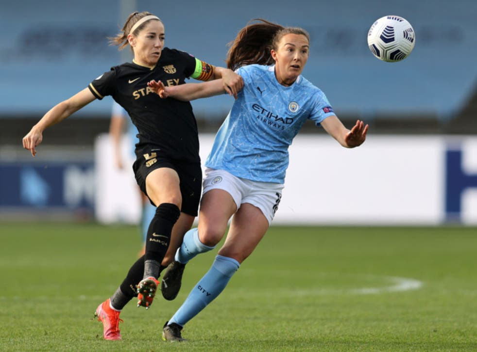 <p>Caroline Weir (right) is challenged by Vicky Losada</p>