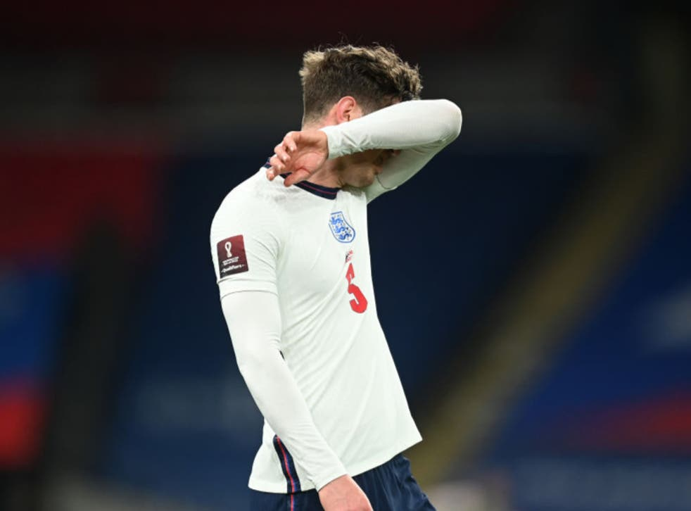 <p>John Stones reacts to his costly error against Poland</p>