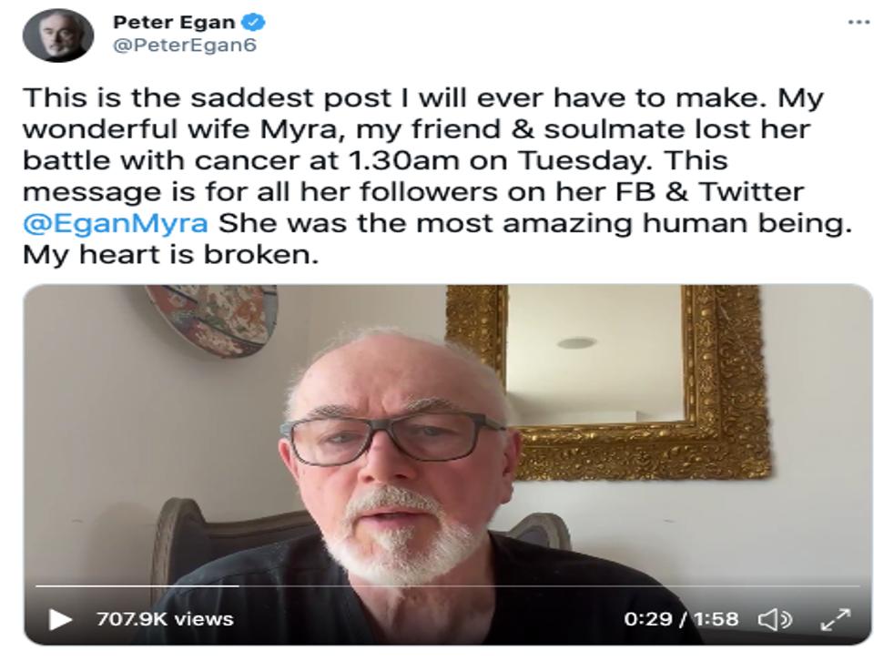 <p>Peter Egan announces his wife Myra Frances' death on Twitter</p>