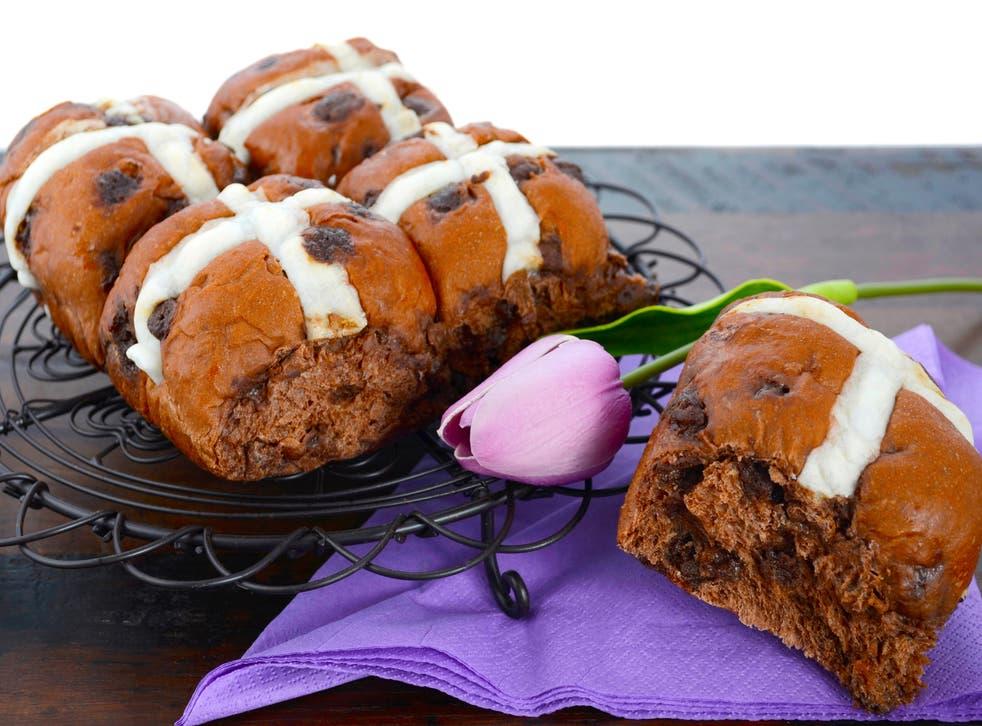 Chocolate flavoured hot cross buns