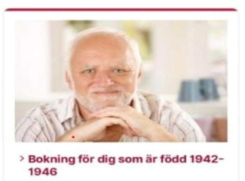 <p>A screenshot shows a part of a government website where Swedes can book Covid-19 vaccinations, featuring the man from the 'Hide the Pain Harold'</p>