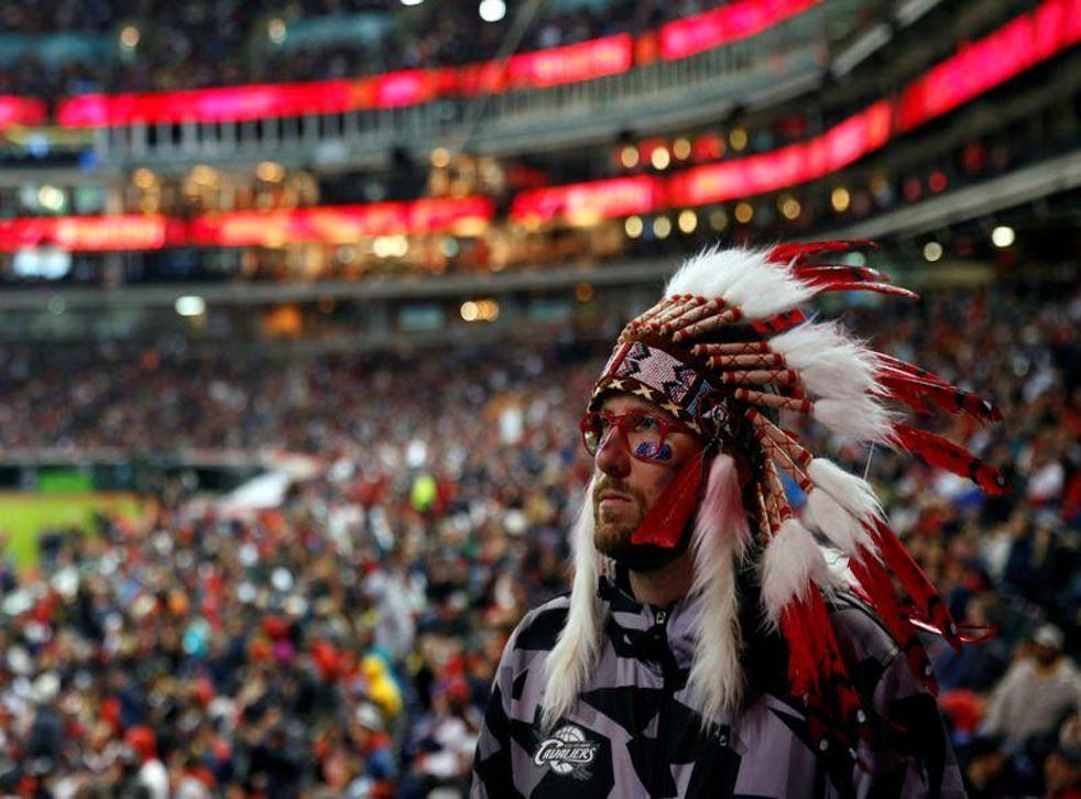 <p>Fan wears the Native American at Cleveland Indians</p>