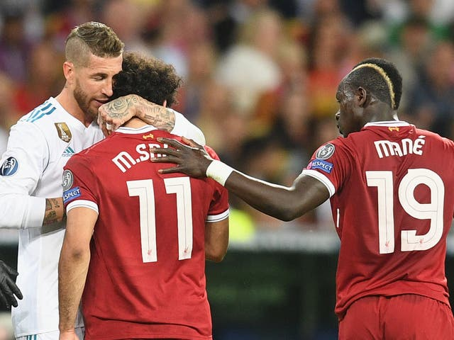 A challenge by Sergio Ramos (left) saw Mohamed Salah go off injured in the 2018 Champions League final