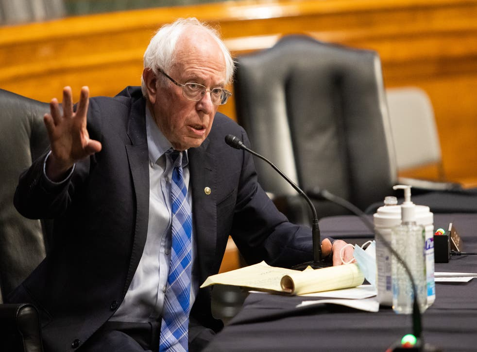 Bernie Sanders (I-VT) speaks during the confirmation hearing for Secretary of Energy nominee Jennifer Granholm before the Senate Committee on Energy and Natural Resources on Capitol Hill
