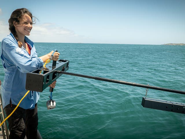 Researcher Naima Andreas Lopez with a midwater BRUVS