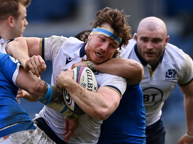 Hamish Watson in action for Scotland against Italy at this year's Six Nations