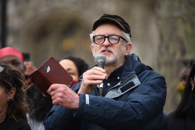 Former Labour party leader Jeremy Corbyn speaks at a 'Kill the Bill' protest in London