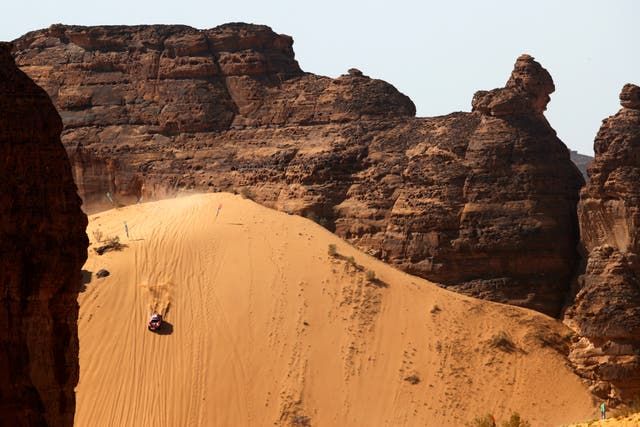 <p>The drop which greets drivers during the Desert X Prix in AlUla</p>