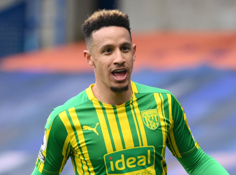 Callum Robinson of West Bromwich Albion celebrates after scoring at Chelsea