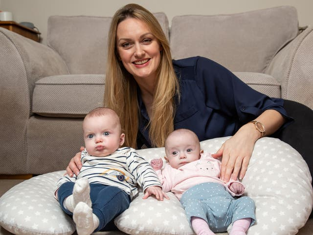 <p>Rebecca Roberts with her twins Noah and Rosalie</p>