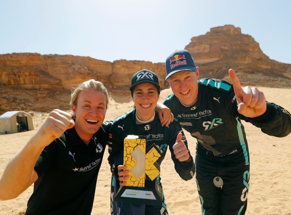 Nico Rosberg, Molly Taylor and Johan Kristoffersson celebrate