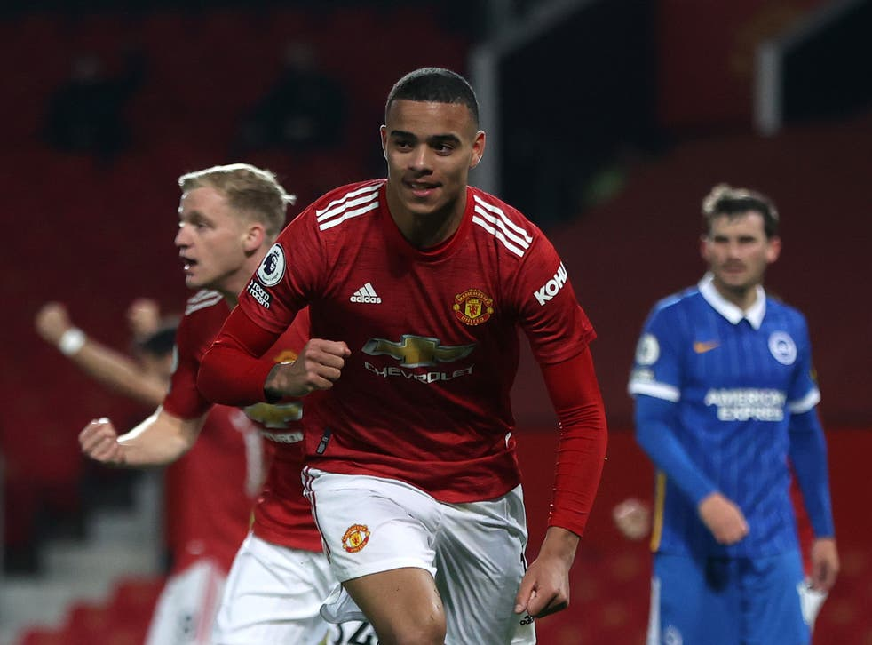 Mason Greenwood celebrates scoring the decisive goal for United