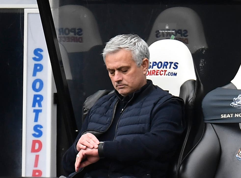 Tottenham coach Jose Mourinho during his side's draw with Newcastle