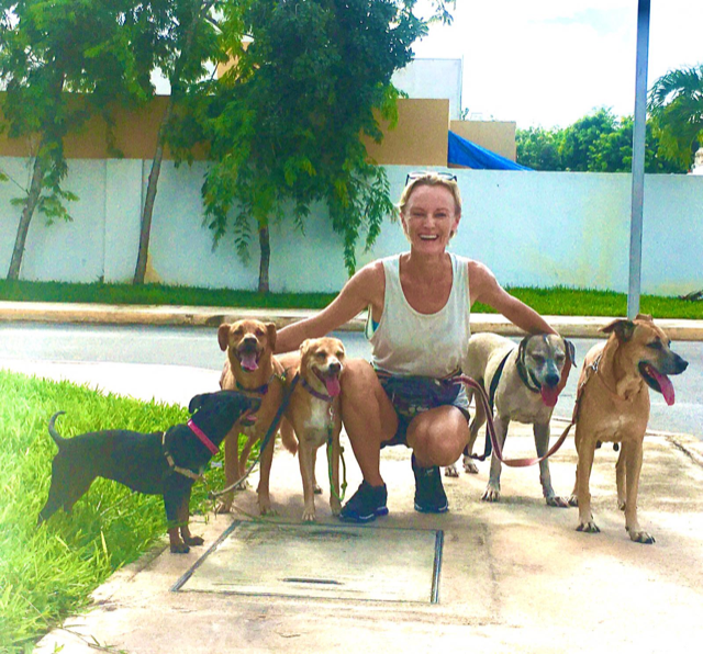 <p>Ynez Tulsen and her adopted street dogs</p>