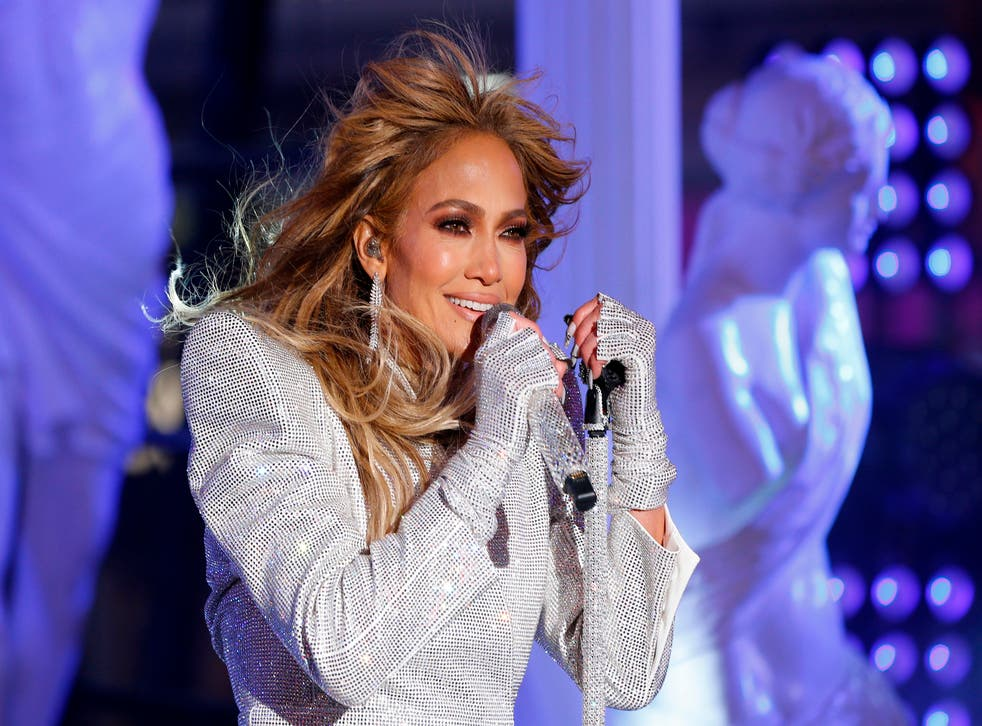 Jennifer Lopez performs in Times Square during New Year's Eve celebrations on December 31, 2020 in New York City.