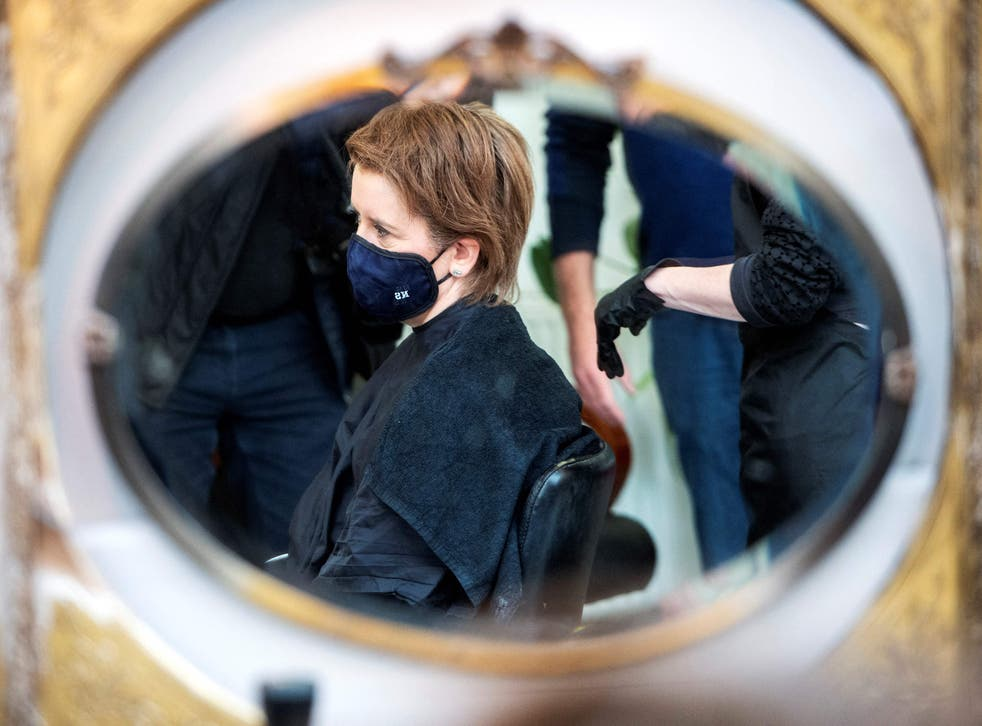 <p>Nicola Sturgeon gets her hair cut in preparation for campaigning</p>