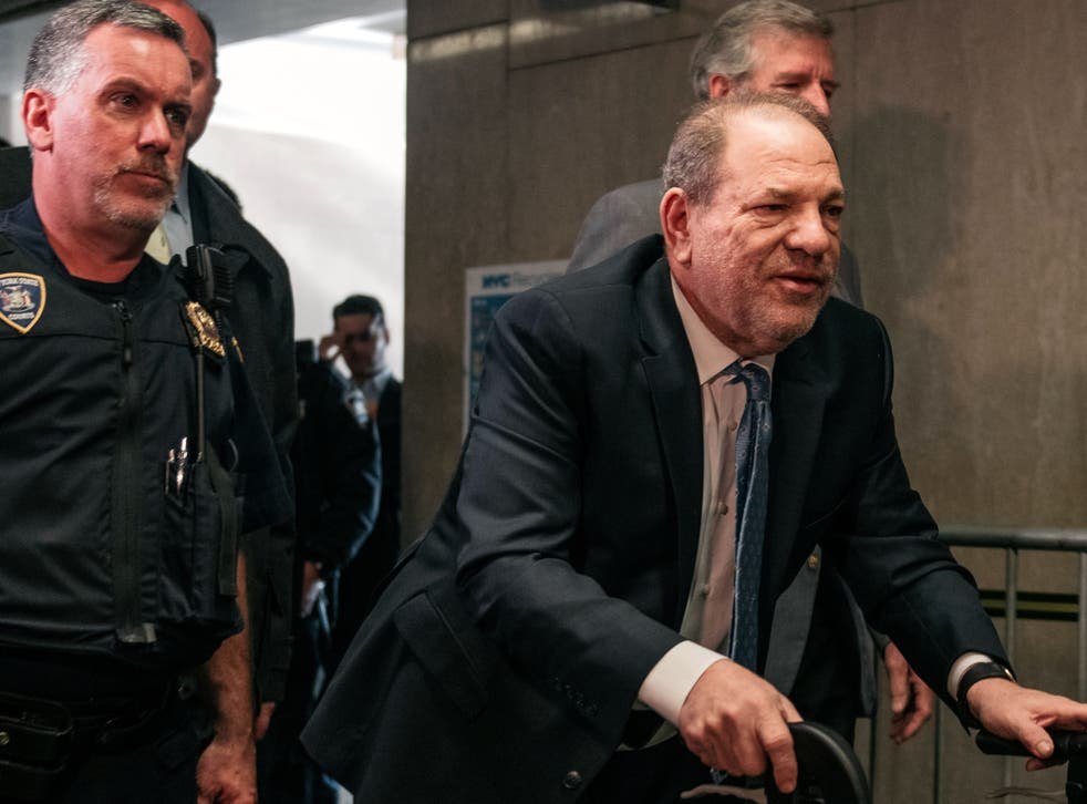 Harvey Weinstein enters a courtroom on 24 February 2020 in New York City