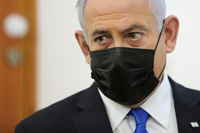 <p>The Israeli prime minister, Benjamin Netanyahu, at Jerusalem's District Court on Monday</p>
