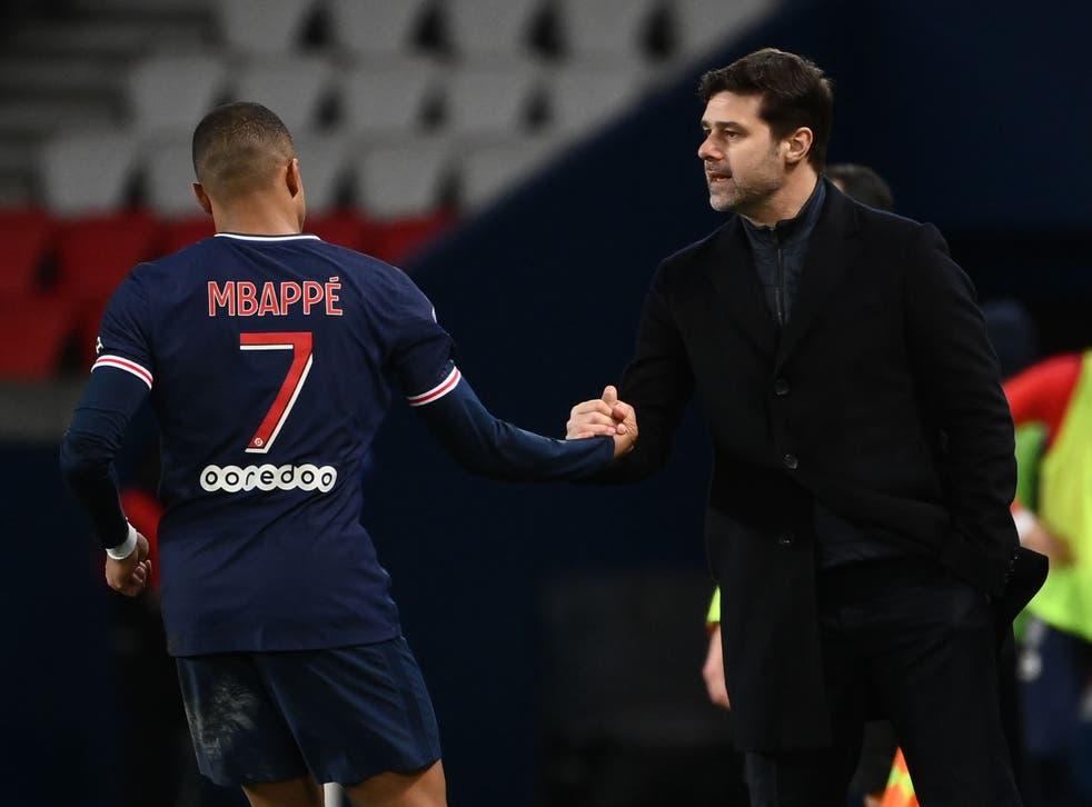 PSG head coach Mauricio Pochettino and Kylian Mbappe