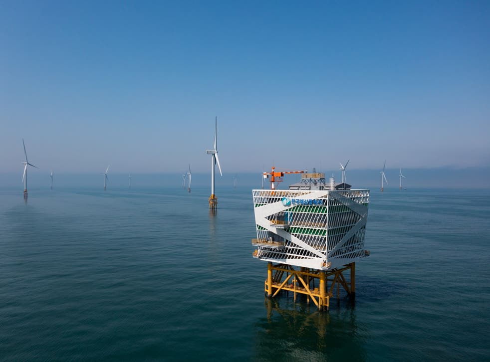 <p>Wind turbines stand at the Korea Offshore Wind Power wind farm in Buan, South Korea</p>