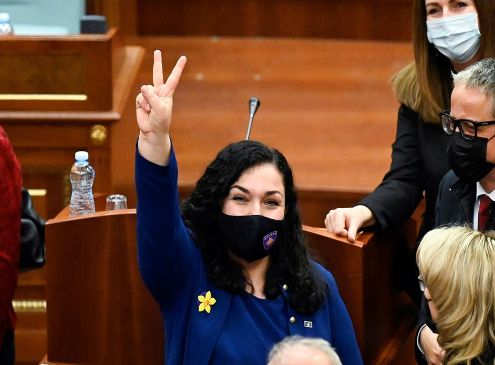 <p>Newly elected President of Kosovo, Vjosa Osmani, is sworn in</p>