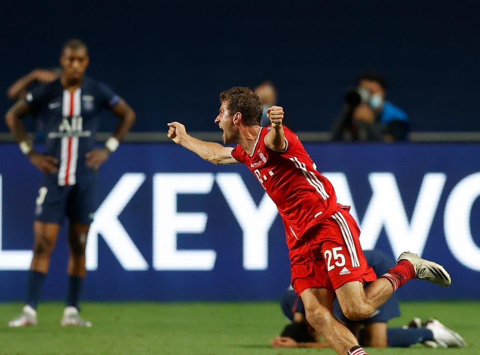 Thomas Muller celebrates last season's Champions League final victory over PSG