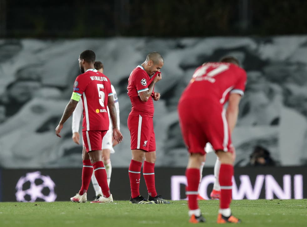 <p>Liverpool's players react to their defeat</p>