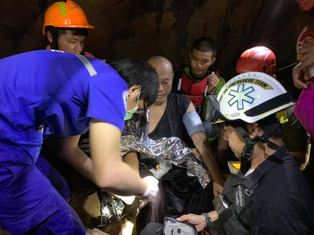 <p>The rescue time found the monk inside the flooded cave after almost five days</p>