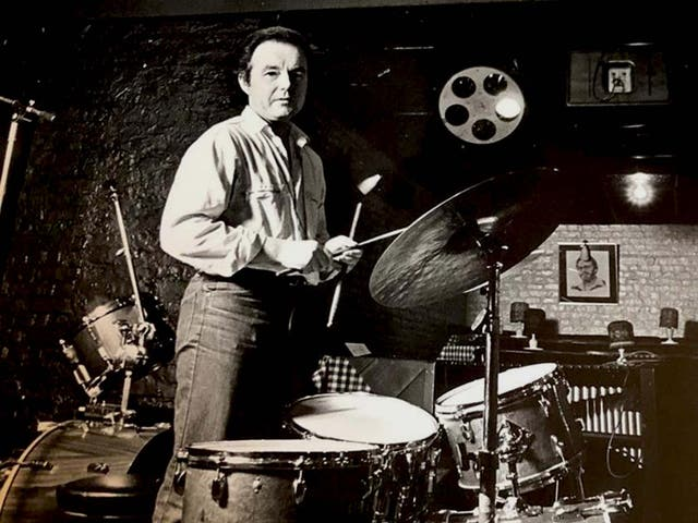 <p>Lovelock behind his kit. He played regularly at Ronnie Scott's jazz club in Soho</p>