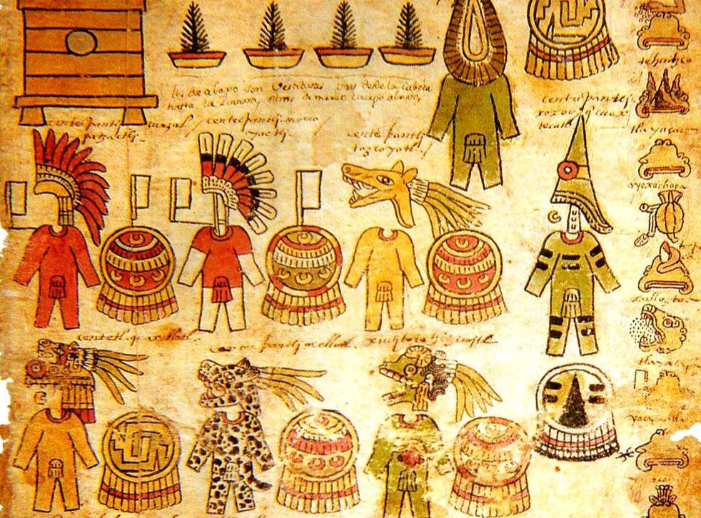 Aztec writing sometimes used different colours to refine a word's meaning: This page is from an early 16th century book about Aztec imperial taxation, the Matricula de Tributos, now in the National Institute of Anthropology and History in Mexico City